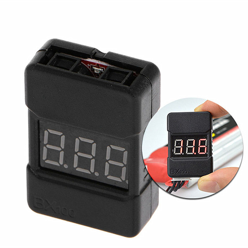 2PCS/1pcs BX100 1-8S Lipo Battery Low Voltage Power Display Tester Buzzer Alarm Black