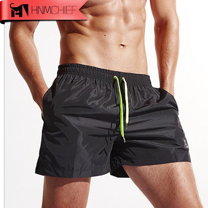 Men Drawstring Beach quick-dry Shorts Summer Casual Gym Surf swimming trunks