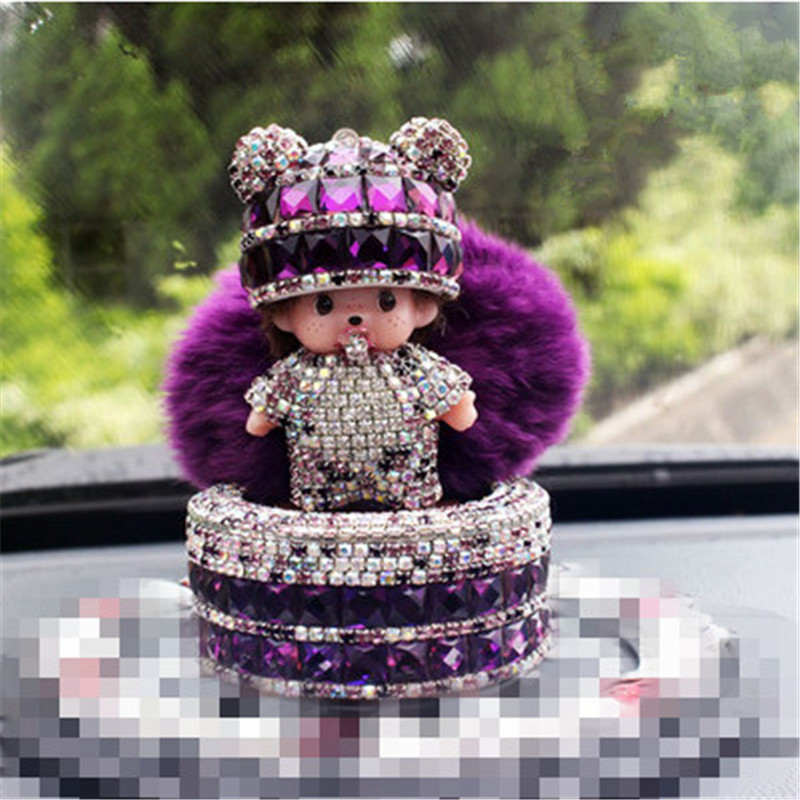 car Ornaments 2018 NEW year monchichi diamond-encrusted cat cartoon perfume seat crystal pompom ball furnishing articles