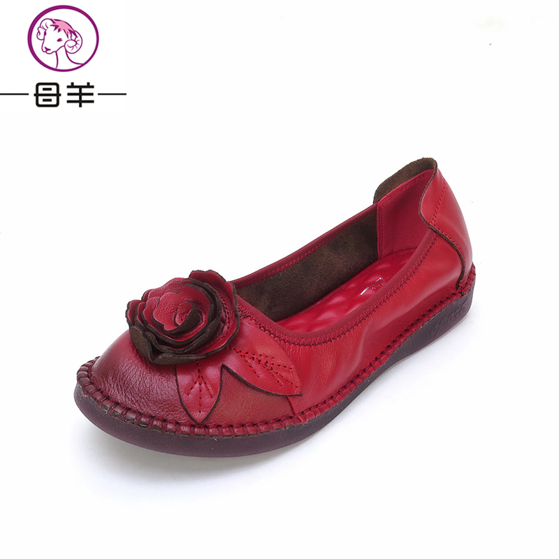 MUYANG Spring Woman Genuine Leather Flat Shoes Leather Loafers Female Casual Shoes Women Flats Non-slip bottom women's shoes