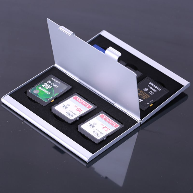 Memory Card Case Monolayer Aluminum Micro Sd Memory Cards Case Pin Storage Box Case Holder Micro Sd Card Holder New