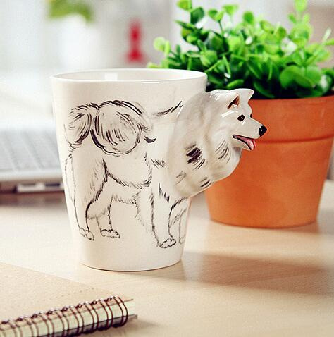 High quality 3D pure hand-painted Animal Cup Ceramic Coffee Mugs Milk Tea Cups Cute Cartoon Dolphin Penguin Cups Gift high quality 400ml cartoon expression pattern hand stirring straw cup