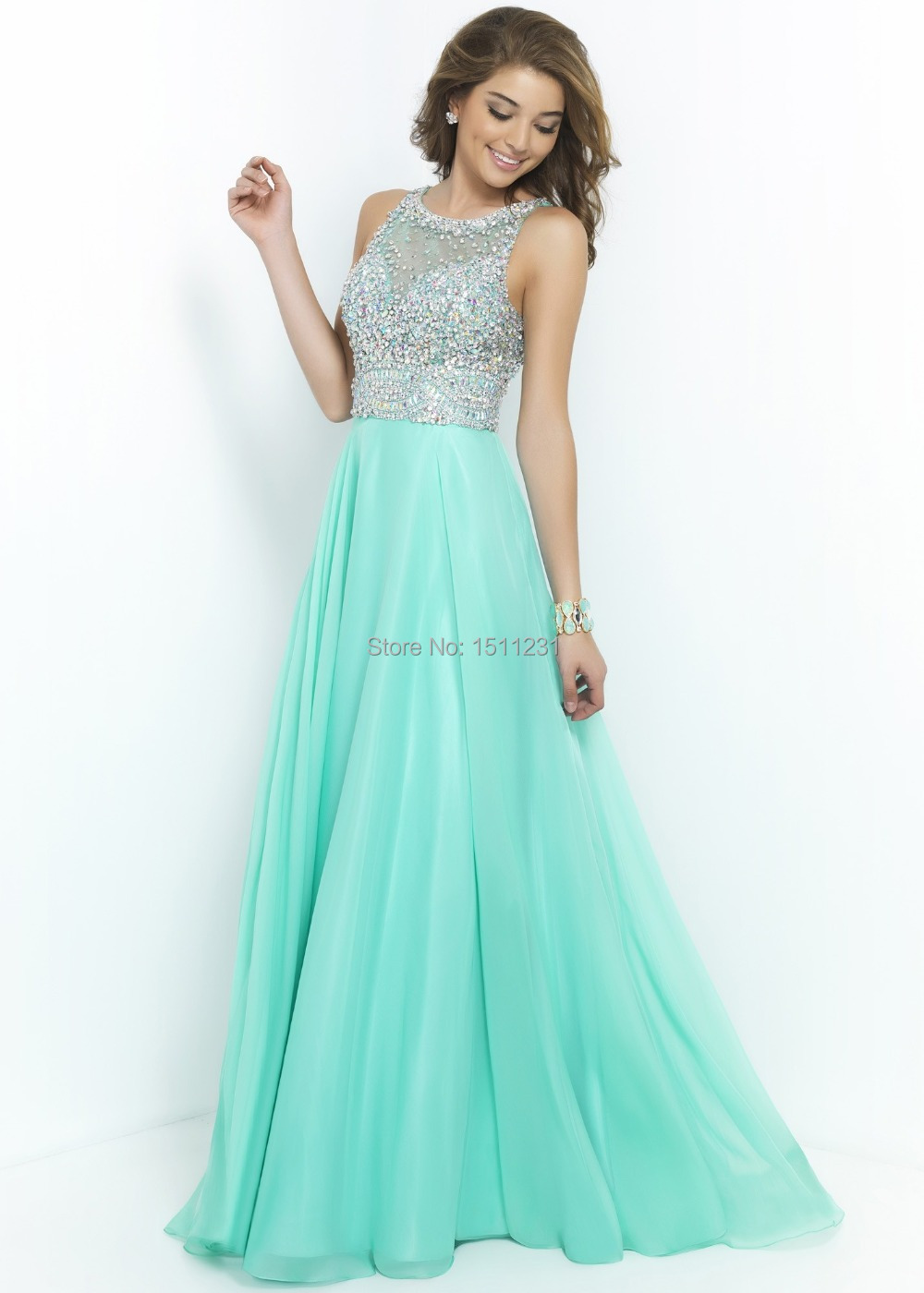 Fashionable Beaded Crystals Long Orange Mint Green White Prom ...