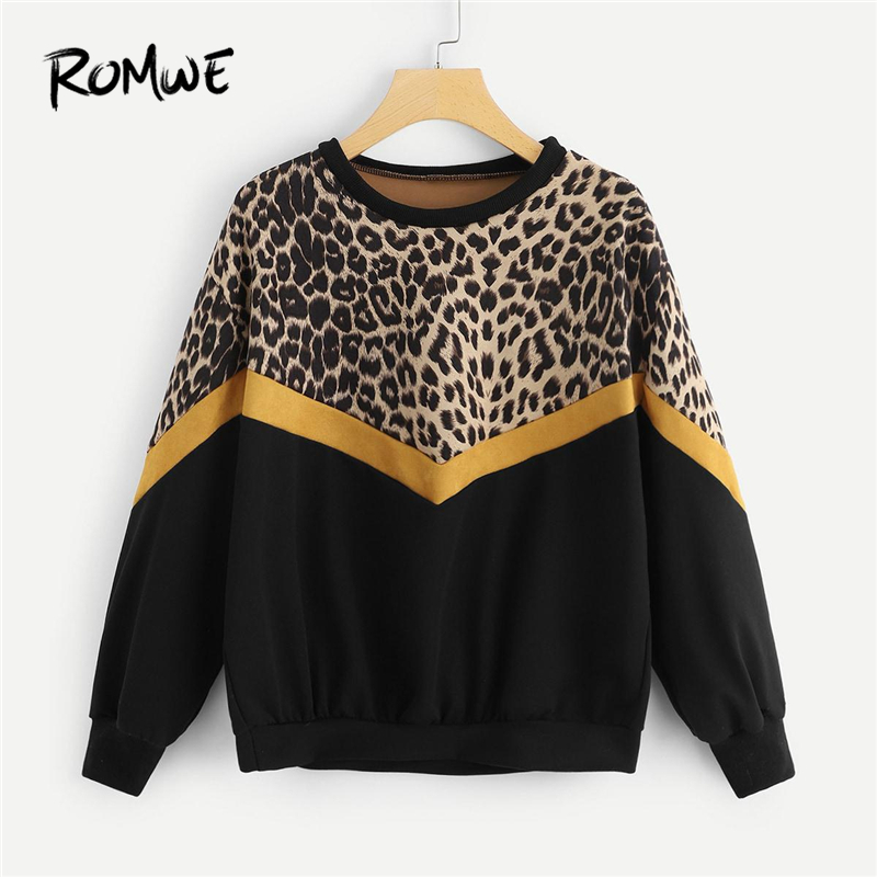 ROMWE Black Leopard Panel Drop Shoulder Sweatshirt Women Casual Autumn 2019 Clothing Womens Long Sleeve Colorblock Pullovers
