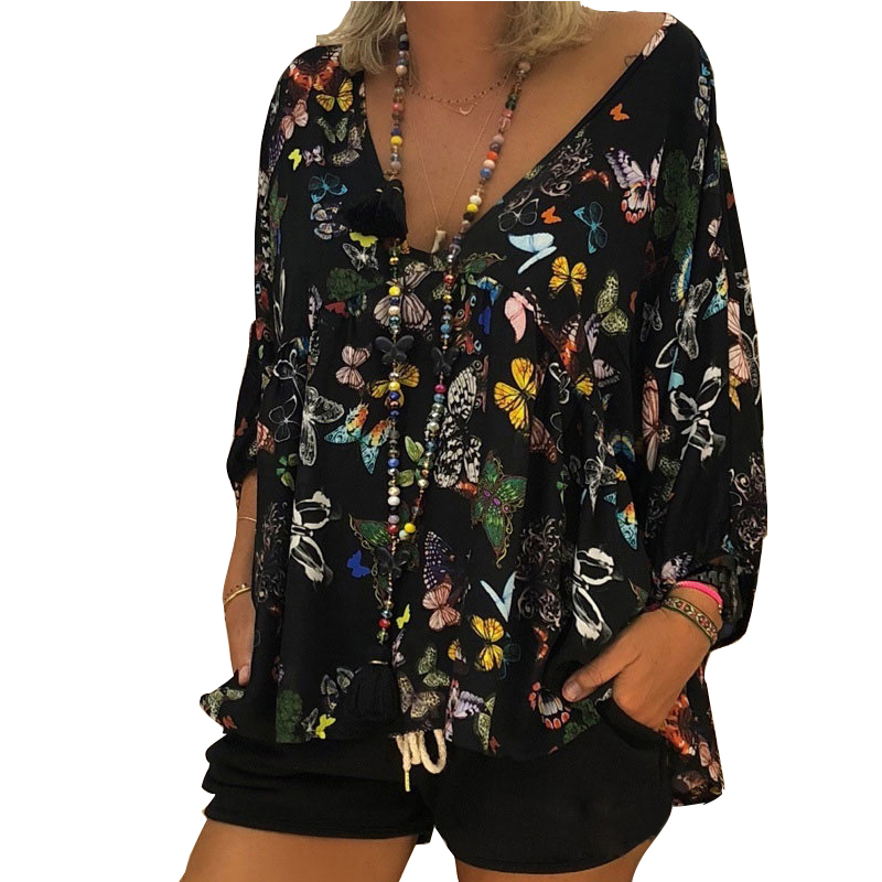 Summer Autumn Maternity Clothes Bohemian Style Long Sleeve Pregnancy Tops Butterfly Printing T-shirt Plus Size Women Clothing