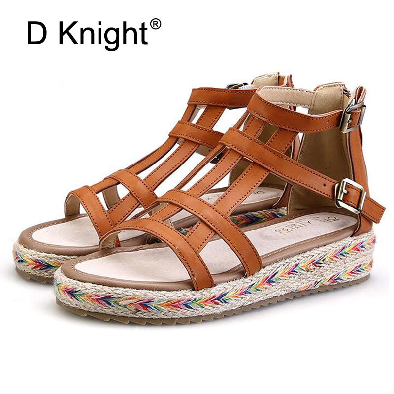 Plus Size 34 43 Bandage Gladiator Sandals Summer Flat Sandals Boots Fretwork Summer Women Causal Shoes