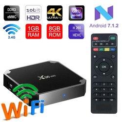 X96 mini android 7.1.2 caixa de tv 2 gb andriod caixa de tv amlogic s905w quad core suppot h.265 uhd 4 k wifi x96mini conjunto-caixa superior x96 tvbox