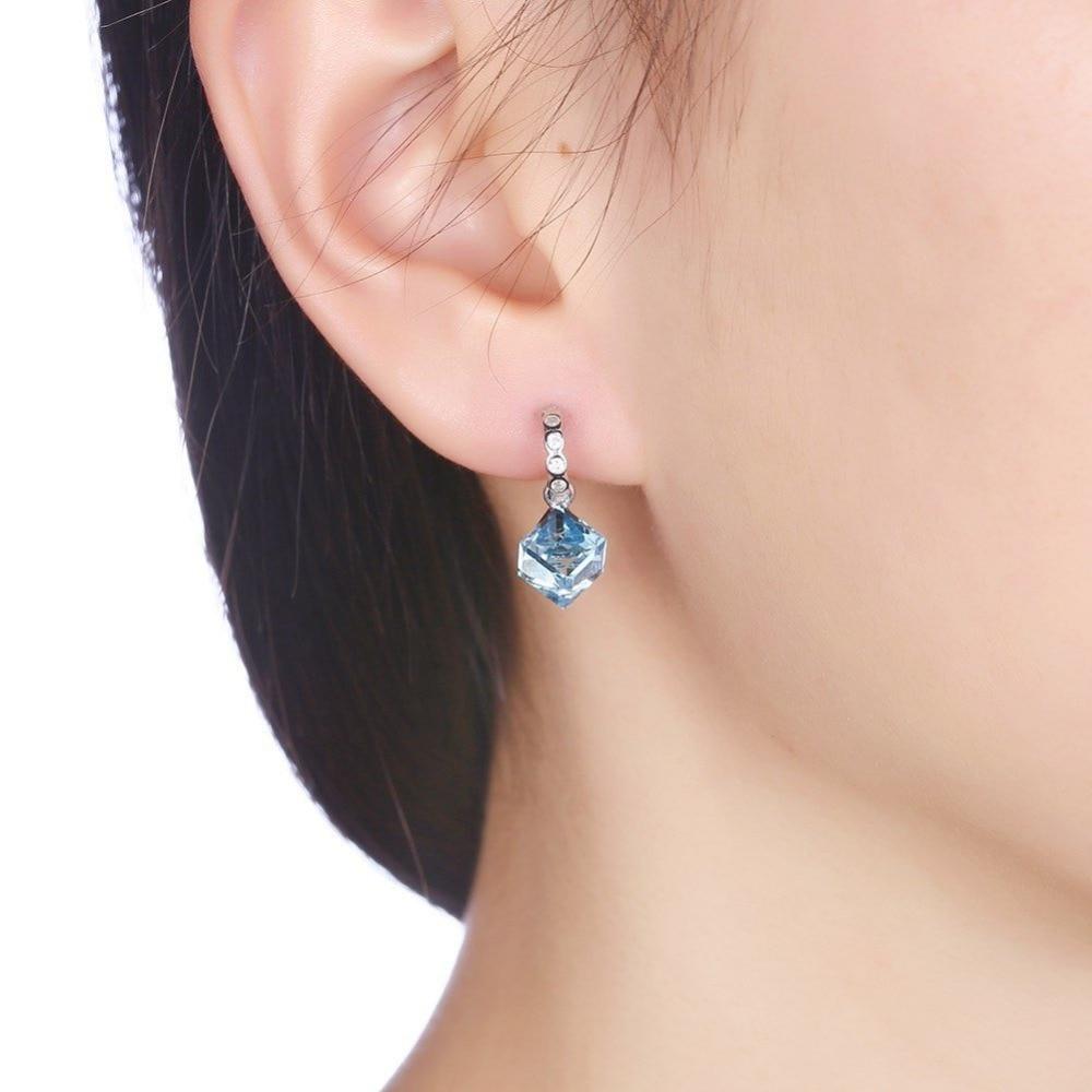 High Quality AAA 925 Sterling Silver Stud Drop Earrings Blue Crystal Stone Cut Bridal Earring Jewelry