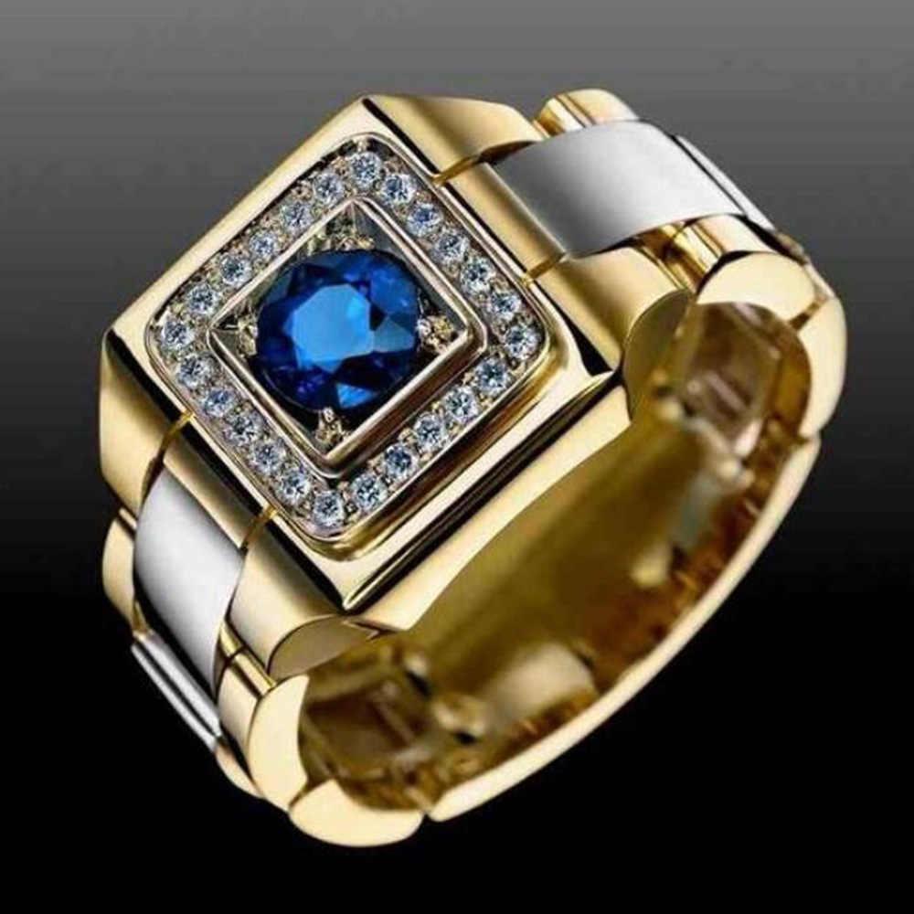 สไตล์ที่ไม่ซ้ำกันขนาดเล็กสีฟ้าสีขาว Zircon แหวนชายหญิงสีเหลืองทองงานแต่งงานเครื่องประดับสำหรับแหวนผู้ชายและผู้หญิง