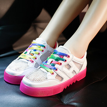 Summer Child rainbow shoes mesh breathable shoes for kids boys girls outdoor sport shoes casual flat shoes Lace-Up size 35-39