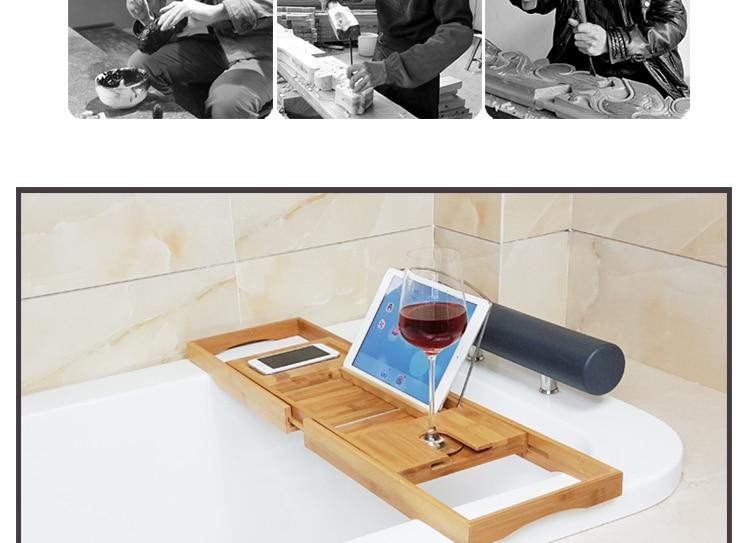 Permalink to Dofaso bathroom shower shelf Handcrafted bamboo bathtub racks shower room accessories