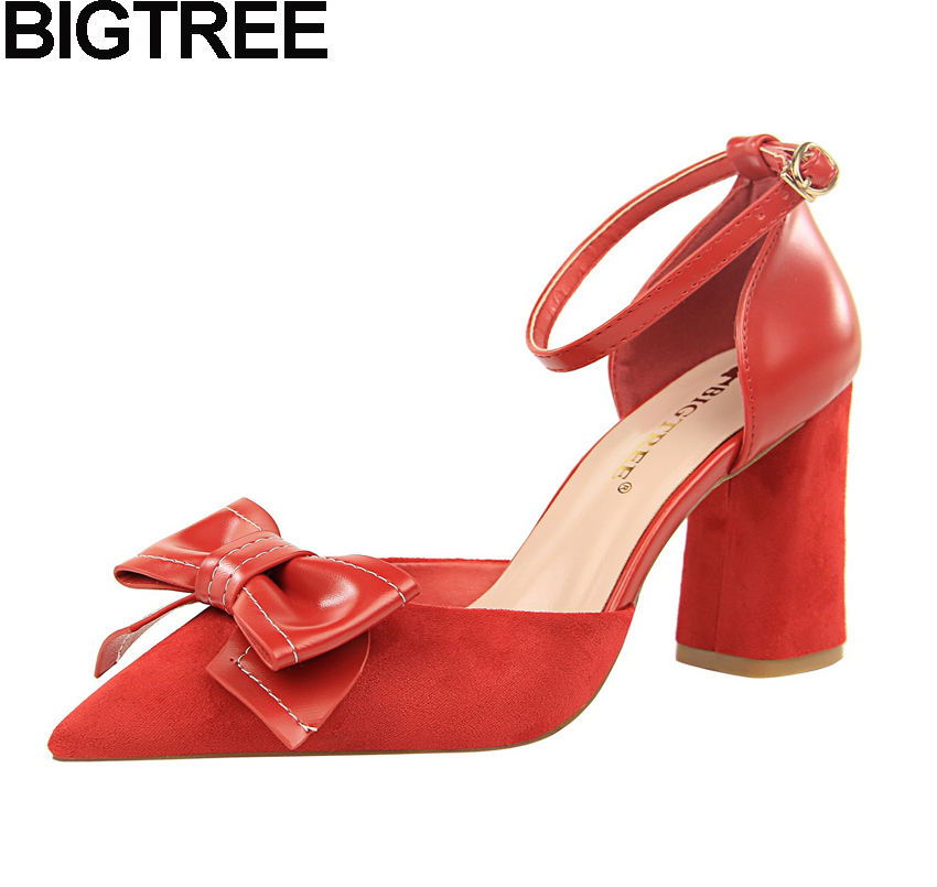 99ecf7d3fa BIGTREE Autumn Women High Heels Pointy Toe Bow Butterfly Knot Ankle Strap  Pumps Flock Faux Suede Shoes Thick Block Square Heels