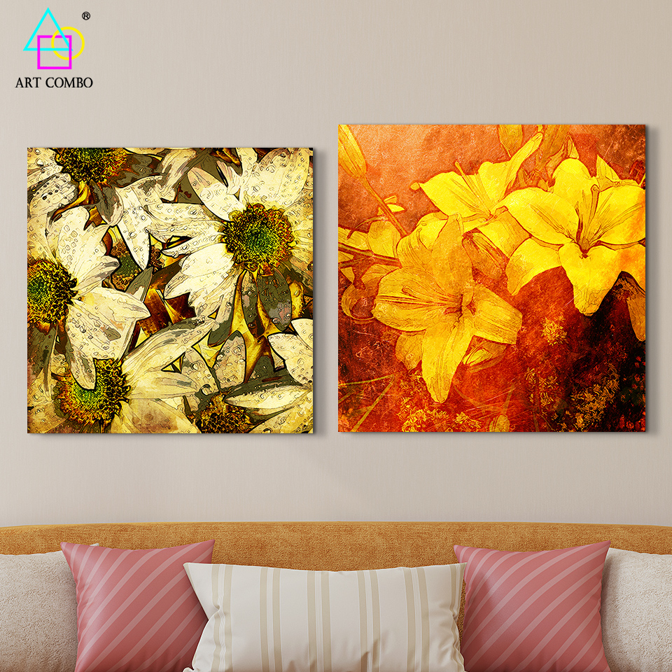 Frameless Flowers Texture Drawing Canvas Painting Wall Art Picture ...