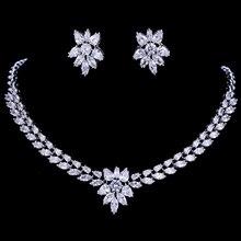 Emmaya Trắng Màu Vàng Sang Trọng Bridal CZ Pha Lê Vòng Cổ và Bông Tai Thiết Big Wedding Jewelry Sets Đối Brides