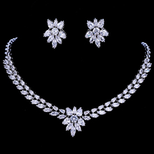 Emmaya White Gold Color Luxury Bridal CZ Crystal Necklace and Earring Sets Big Wedding Jewelry Sets For Brides