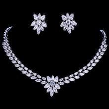 Emmaya cor de ouro branco luxo nupcial cz cristal colar e brinco conjuntos grandes conjuntos jóias casamento para noivas