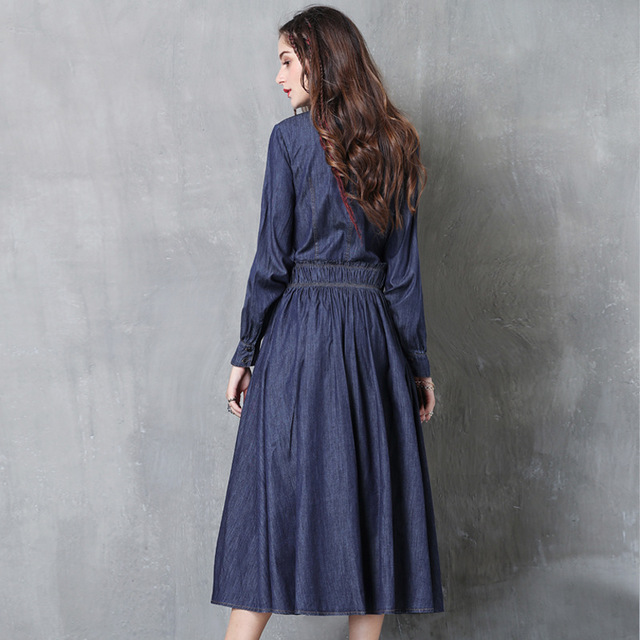 2019 Fashion spring and autumn embroidery women denim retro waist long sleeve pleated dress famous brand women 39 s clothing in Dresses from Women 39 s Clothing