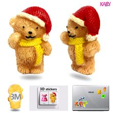 5pcs Christmas Cap Bear 3D Resin Flatback Cabochon With Strong Stickers For Laptop Suitcase Wall Phone Car Hair Bow DIY Crafts 1(China)