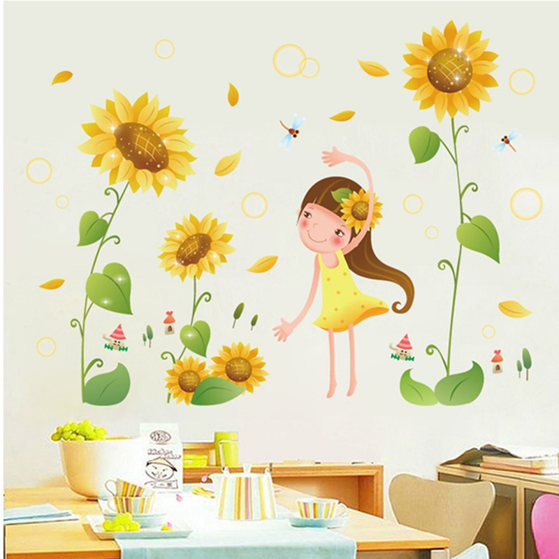 Girl playing in flowers sunflower wall sticker country style gardening nursery sunflower petals green plants home decor decals
