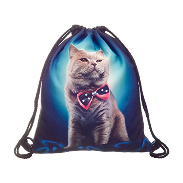 Full print Mens Womens Kids bag Teenage Drawstring Bag Shoulder School Backpack Rucksack Travel Gym(Cat)