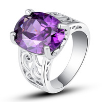 JROSE Fashion Wholesale Jewelry Oval Cut Amethyst 925 Silver Ring Size 7 8 9 10 Free Shipping Wedding Engagement Gift