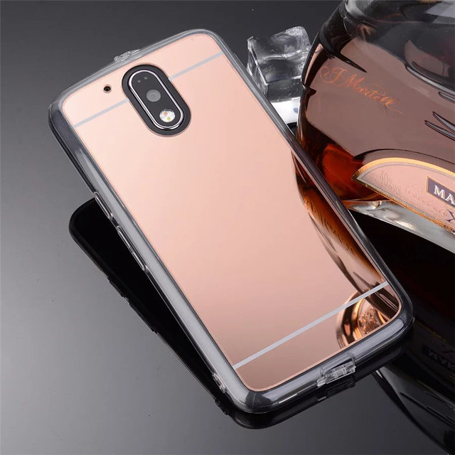 the latest 890b9 ea70e US $2.19  Luxury Rose Gold Soft TPU Mirror Case For Motorola Moto G4 G4  plus Phone Back Housing Cover Capa-in Fitted Cases from Cellphones & ...