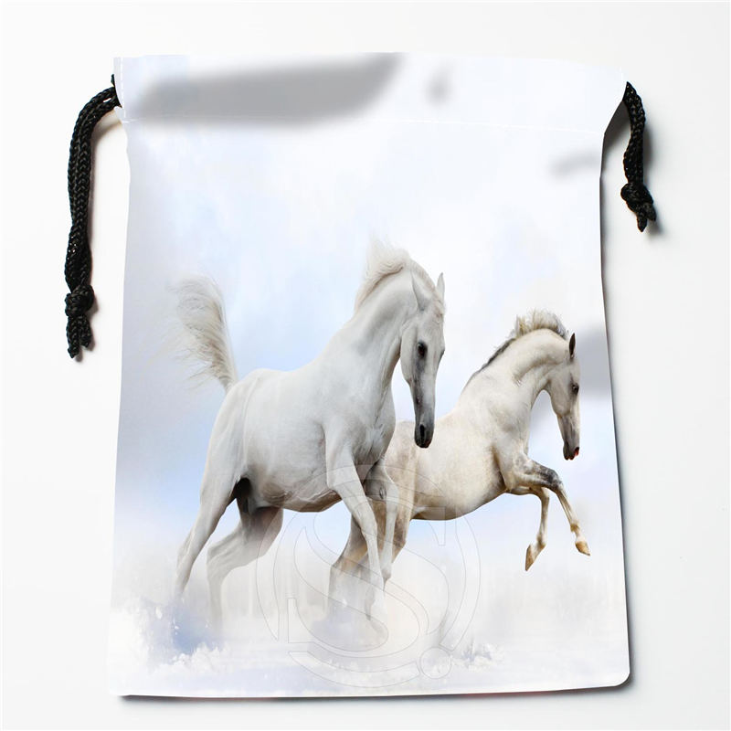 U-2 New Beautiful White Horses Custom Logo Printed  Receive Bag  Bag Compression Type Drawstring Bags Size 18X22cm U801!!w2