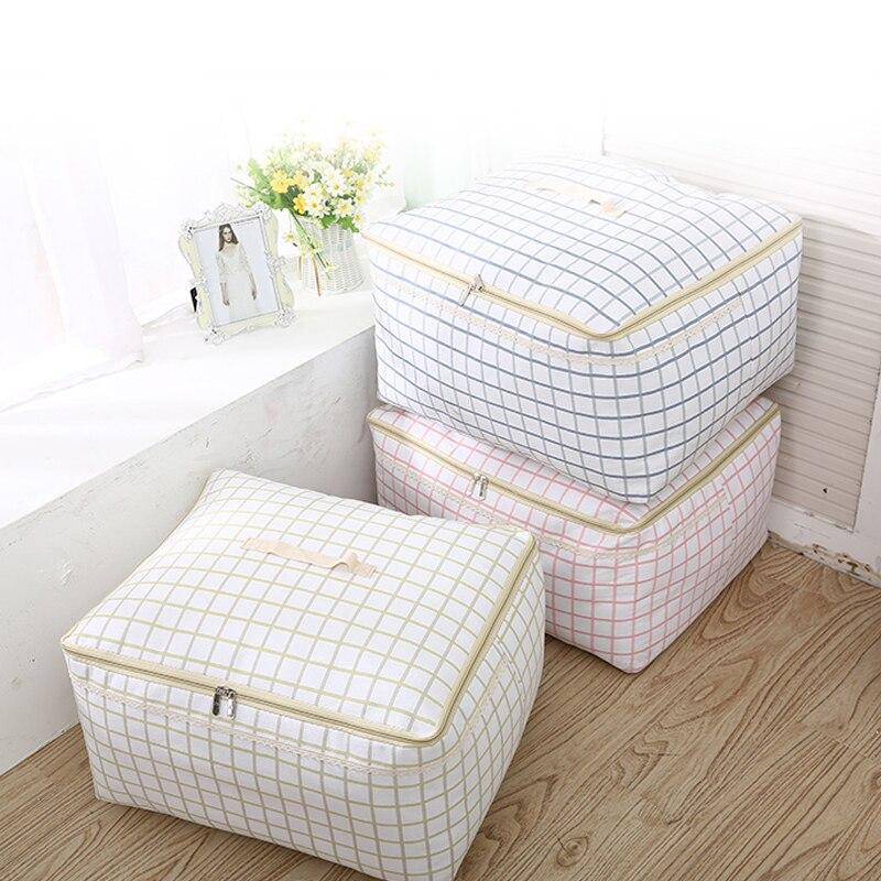 Nouveau Simple grille imprimé coton & linge placard organisateur famille tissu couette rangé organisateur sac 3 pièces/ensemble M + L + XL garde-robe organisateur