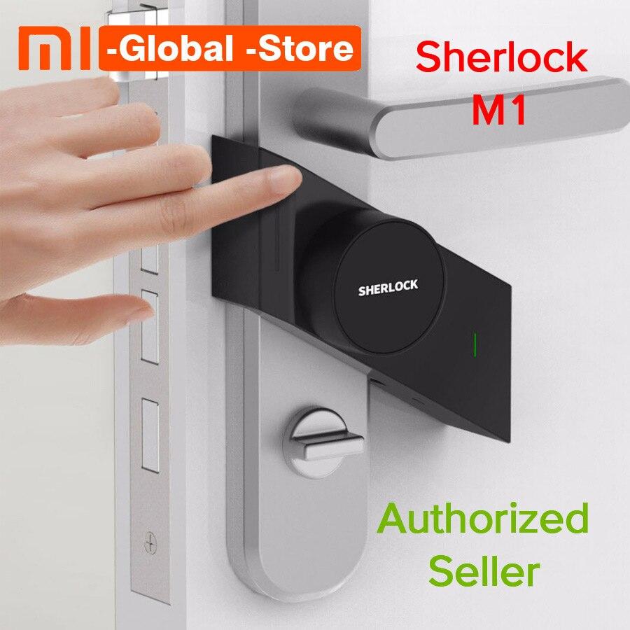 Più nuovo Xiao mi mi jia sherlock smart Lock M1 mi JIA smart serratura Keyless Di Impronte digitali + Password di Lavoro per mi Casa App di Controllo Del Telefono