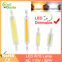 R7S Led Bulb COB Glass Tube Dimmable led Lamp 78mm 6W 118mm 15W Replace Halogen 50W 100W Floodlight Diode Spot Light AC110V 220V стоимость