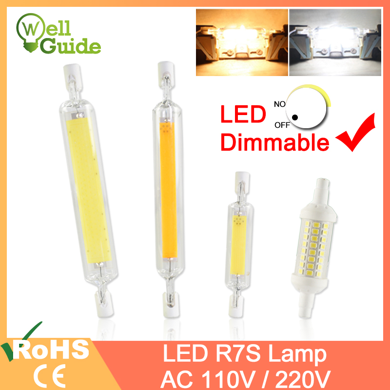 R7S Led Bulb COB Glass Tube Dimmable led Lamp 78mm 6W 118mm 15W Replace Halogen 50W 100W Floodlight Diode Spot Light AC110V 220V