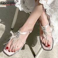 TASSLYNN 2019 Bling Party Casual Shoes Women Summer Low Heels Sandals Women Ankle Strap Rome Style Women Shoes Black Size 34 39