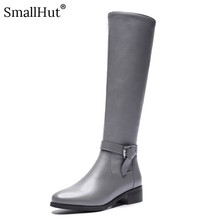 Motorcycle Knee High Boots Women Autumn Leather Ladies Square Heels D088 Woman Black Gray Round Toe Buckle Zipper Winter Shoes
