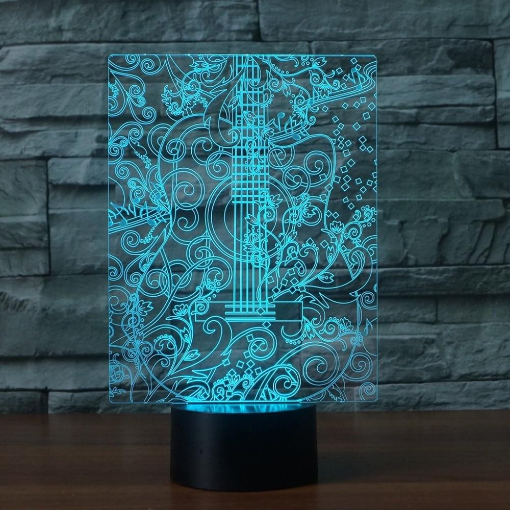Спальня для сна видения 3D <font><b>Led</b></font> творческий ночные огни 7 цветов Изменение музыка гитары настольная лампа Украшения в спальню прикроватные Дети &#8230;