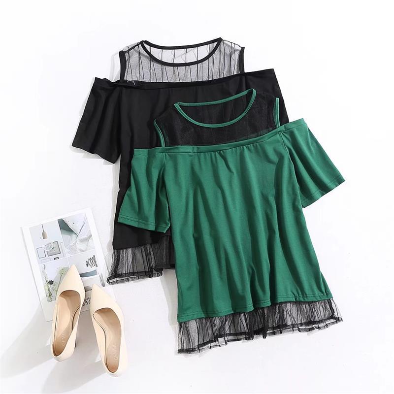 Plus size lace patchwork women t shirt 2018 O Neck t-shirt off shoulder women summer tops cotton tshirt green & black tee shirt