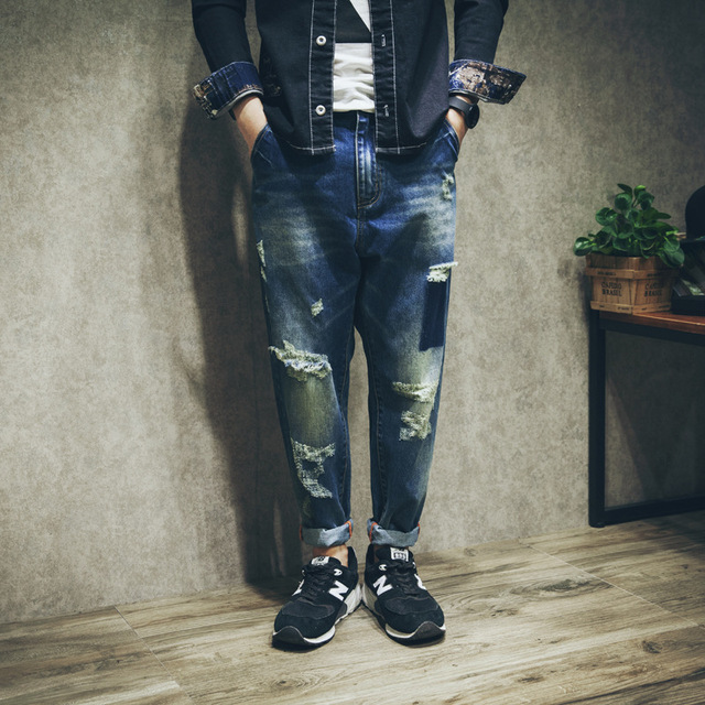 Men's knee ripped hole jeans big size loose harem pants fashion casual male camouflage denim pants vintage jean trousers