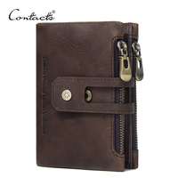CONTACT S Genuine Leather Men Wallet Small Men Walet Zipper Hasp Male Portomonee Short Coin Purse