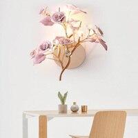 Книги по искусству деко французский стиль светодиодный Кристалл Бра Роскошная Керамическая Цветок Висит бра гостиная, спальня настенный с