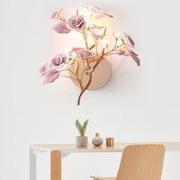 Art Deco French style LED Crystal wall lamps luxurious ceramic flower hanging sconce living room bedroom wall lamp bedside light