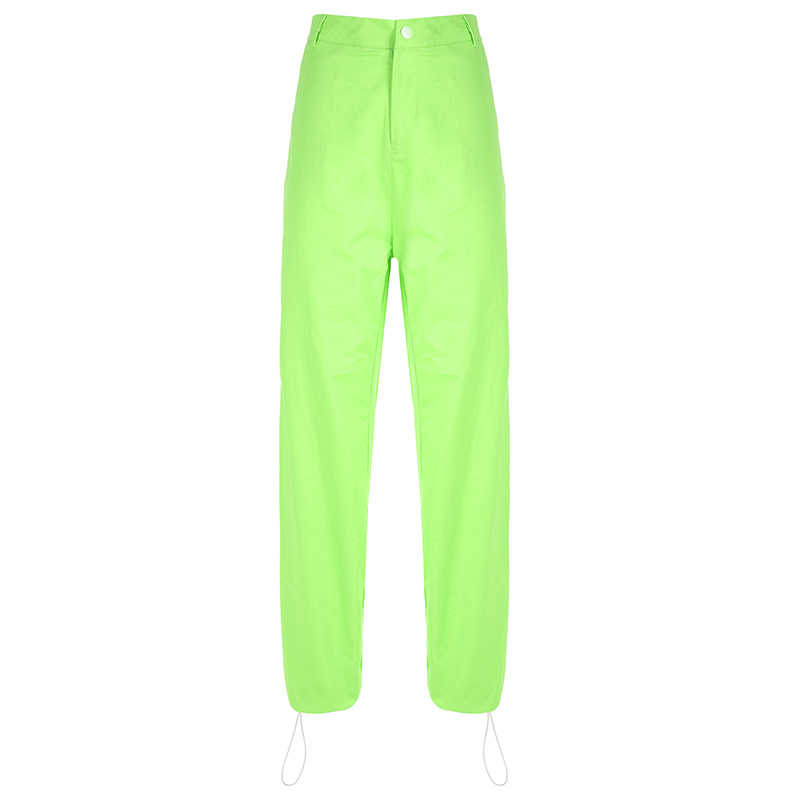 3a05f6f7e7f3 ... HEYounGIRL Casual Loose Hip Hop Cargo Pants Women Fluorescent Green  Harajuku Ladies Trousers Streetwear Sweatpants Spring ...