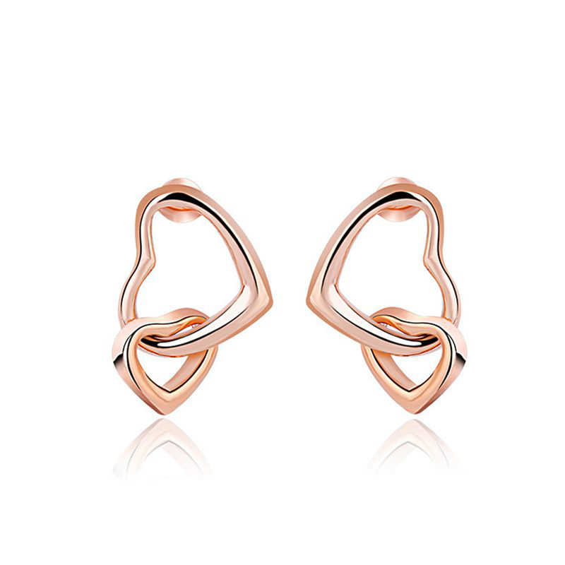 MIGGA délicates boucles d'oreilles en métal brillant Double coeur couleur or Rose femmes clous bijoux