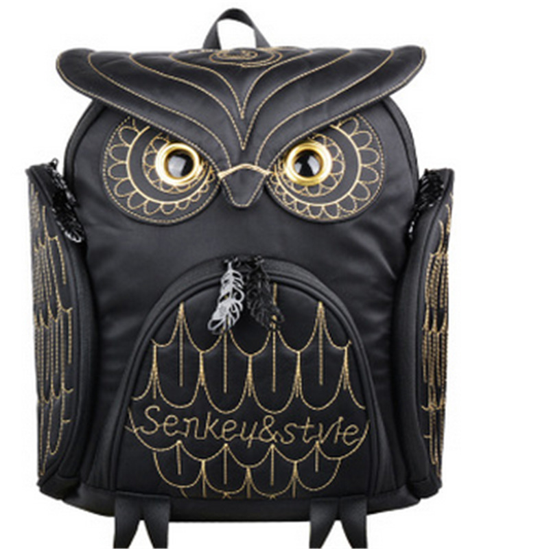2017 New Personalized Women Backpack Embossed Owl Backpack Fashion Tide Cartoon Cute Animal Waterproof Women Bags