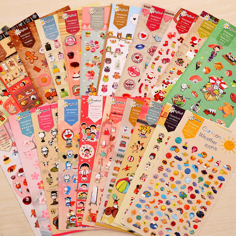 1 Foglio Daisyland Adesivi Cartoon Anime Adesivo Decorativo Fiocchi per Notebook Diario Scrapbooking Materiale Scolastico di Cancelleria