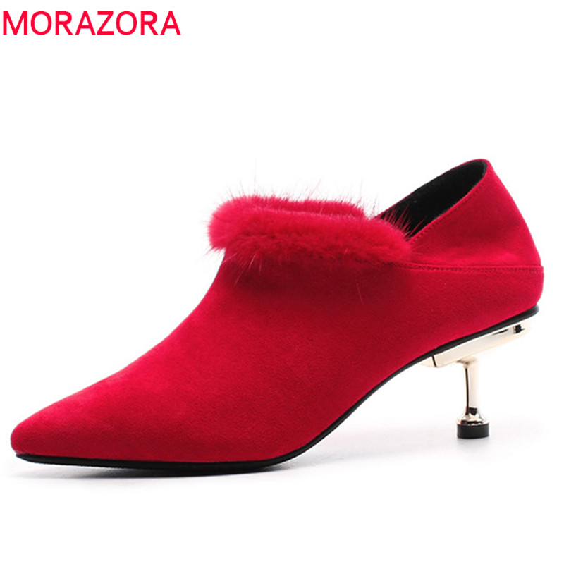 MORAZORA 2019 new arrival spring autumn pumps women shoes pointed toe flock high heels shoes stiletto heels party shoes woman