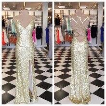 Bling Bling Gold Pailletten Prom Kleider Sexy seitenschlitz Lange meerjungfrau abendkleider v-ausschnitt rückenausschnitt party kleid