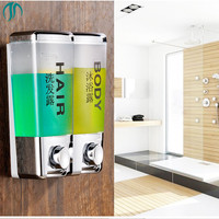 800ml Double Dispensers For Liquid Soap Hand Touch Soap Dispenser Plastic Wall Mounting Sanitizer Dispenser Washroom