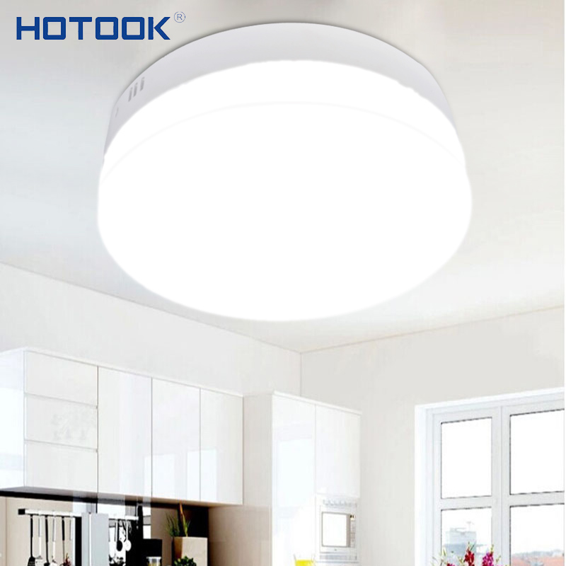 HOTOOK Led Panel 6W 12W 18W 24W MiniSquare Round Surface Mounted LED Downlight Dimmable Ceiling lamp for Home Kitchen LivingRoom usb3 0 round type panel mounting usb connecter silver surface