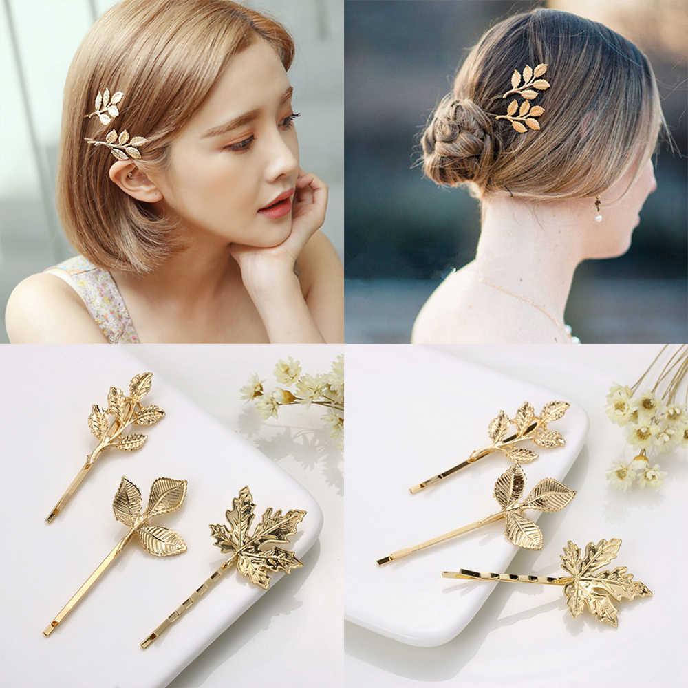 2 Pcs Vintage Olive Branch Leaves Hairpin Gold Handmade Hair Clip Women Tiara