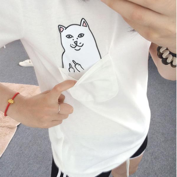 bc422dca4 Hot Sale Middle Finger Cat Printed T-shirt Women 2018 Fashion 3d Print  Short Sleeve