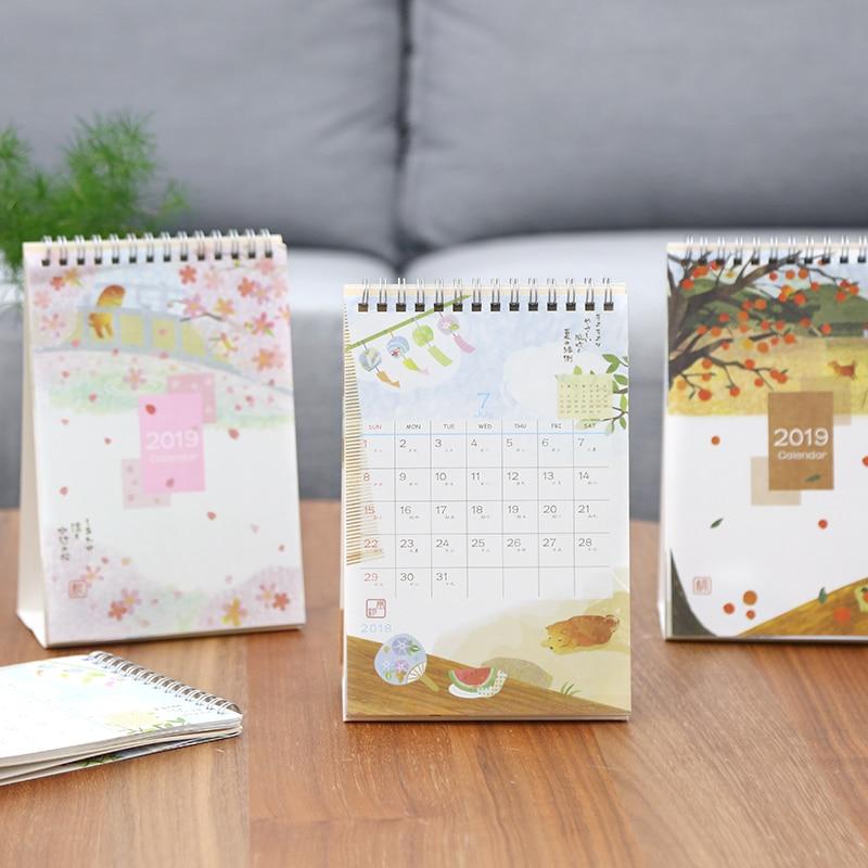 2019 Year Cute Landscape Creative Desk Standing Paper Multifunction Organizer Schedule Planner Notebook New Cartoon Calendar Office & School Supplies